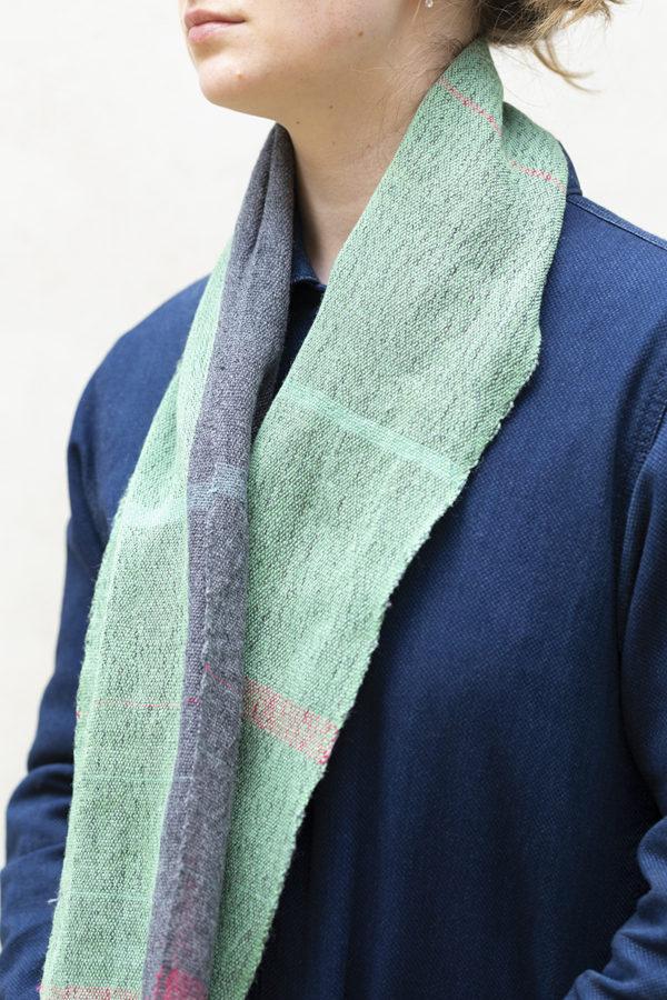 bauhaus stripe scarf draped