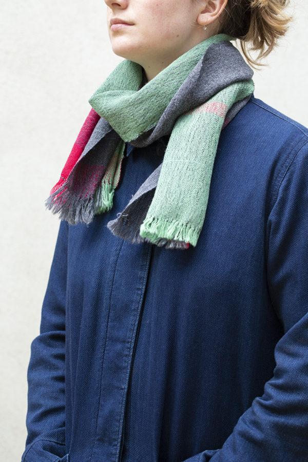 bauhaus stripe scarf tied