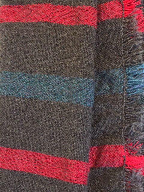 british lambswool stripe scarf closeup edges