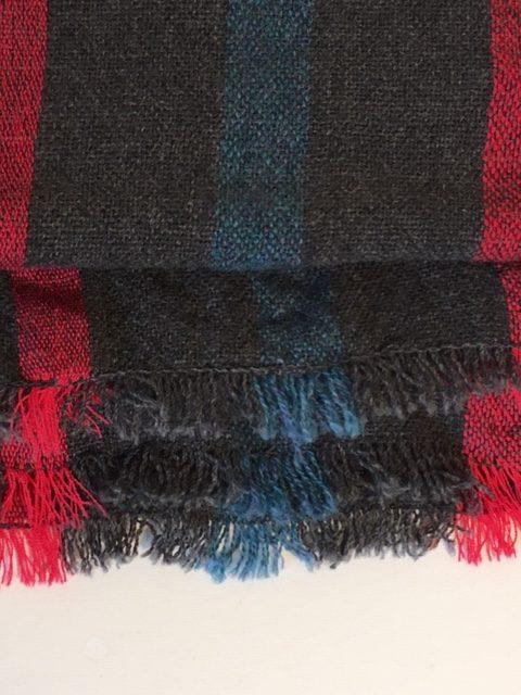 grey british lambswool stripe scarf edges