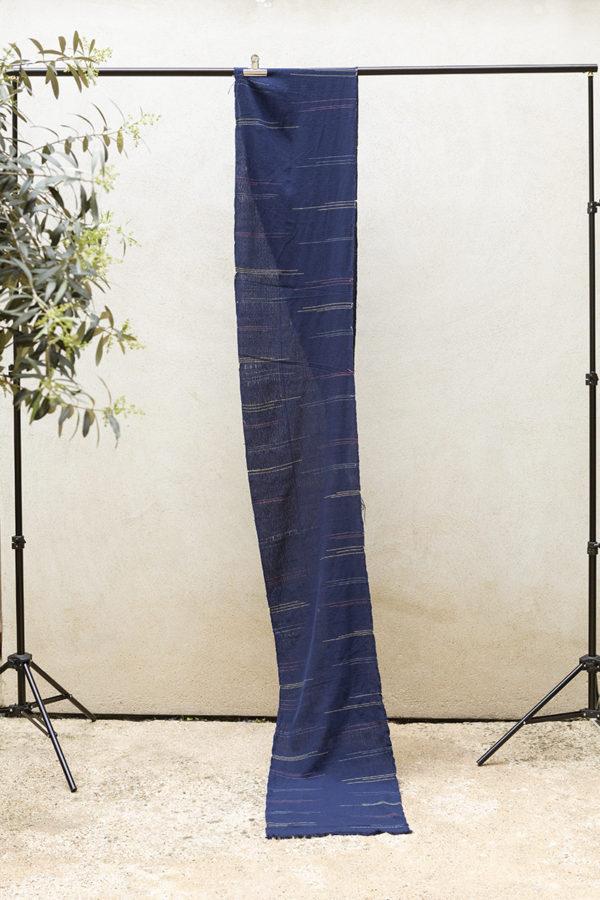 indigo ikat length fabric
