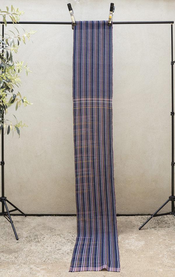 indigo stripe multicoloured fabric length