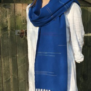 draped royal blue cotton scarf