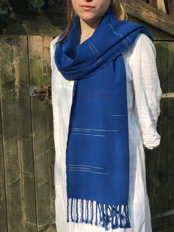 draped royal blue cotton scarf